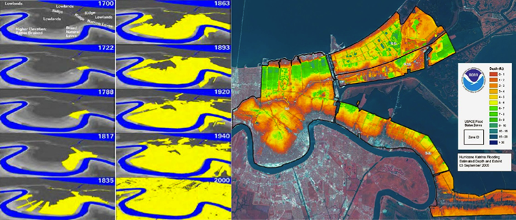 Historic expansion of Greater New Orleans Area compared to flooding depths from levee failure during hurricane Katrina. Older areas flooded much less