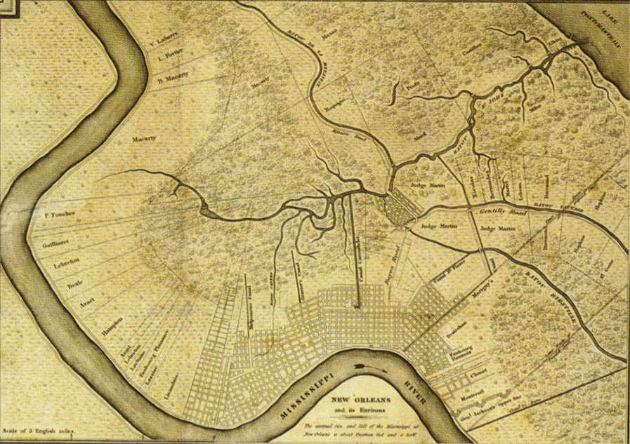 Map of New Orleans city plan in 1829.