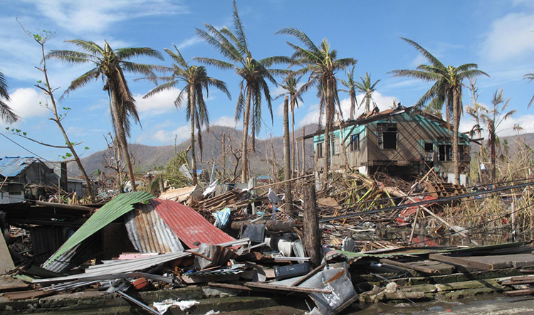 Devastation in Tacloban, Philippines caused by Super Typhoon Haiyan.