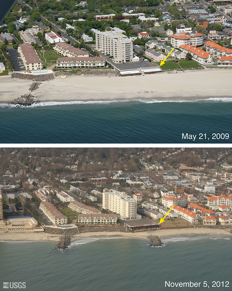 Long Branch, New Jersey from before and after Hurricane Sandy. much shorter beach and destruction of parking structures