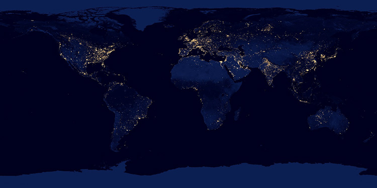 see image caption. most lights are in the US, Europe and along coast lines