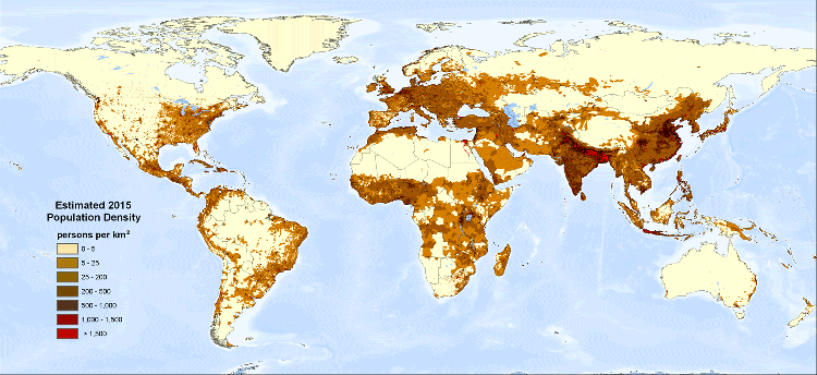 World map to show global population density. most along coasts, US east coat, central africa, asia and europe,