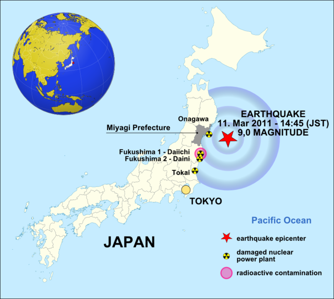 Map. Epicenter off coast of Miyagi prefecture. 4 nuclear power plants from epicenter 2 tokyo damaged. 2nd plant had radioactive spill