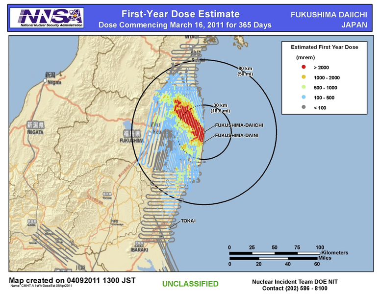 Map of First-Year Radiation Dose Estimate near Fukushima Daiichi Nuclear Power Plant. Upto 80 km away. highest dosage 2000+ NW from 0-30km