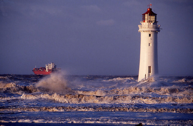 Perch Rock Lighthouse in the stormy Irish Sea.