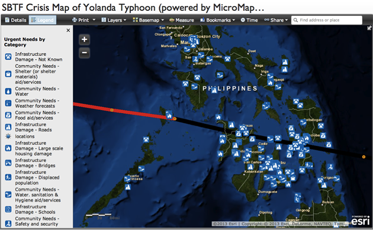 Screen shot of real-time crisis map described in caption