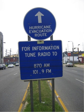 Sign showing hurricane evacuation route in New Orleans.