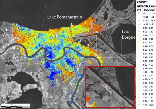 Satellite image of modern subsidence rates in New Orleans, zooming in on an area by Lake Borgne