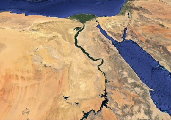 Egypt & northern Red Sea (Google Earth image) & Nile River Valley as described in caption.