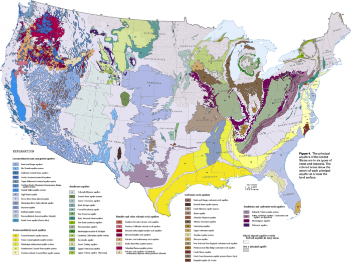 Color-coded map of Principal aquifers of the conterminous United States.