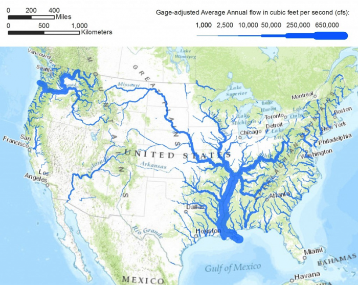map of major rivers in us with widths scaled by average water discharge most