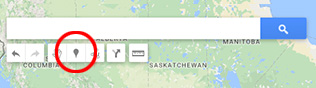 "Locating the ""Add Marker"" tool in Google Maps window."