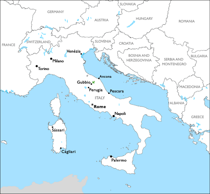 map of Europe with the Italian town of Gubbio marked