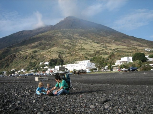 Linda, Tino and Chris at the beach on Stromboli