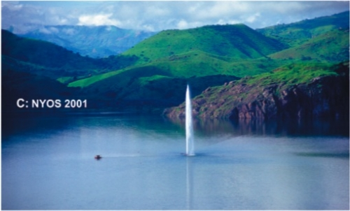 lake nyos, cameroon with degassing jets