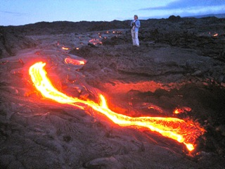 lava streams from pu'o o'o in 2010