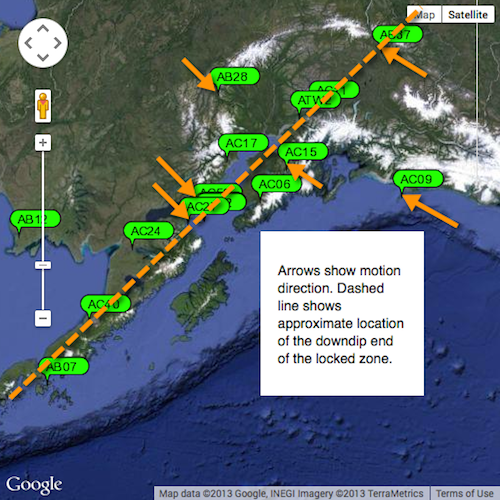map of Alaska with GPS stations and arrows showing crustal motion