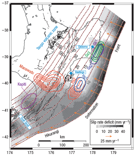map of a slow slip event in New Zealand