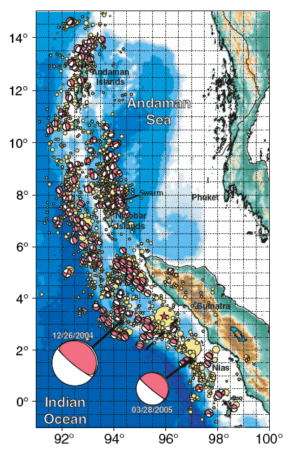 beachballs showing focal mechanisms of aftershocks of Sumatra-Andaman earthquake 2004