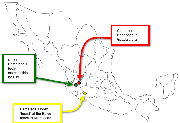 map of mexico with three locales from the reading assignment designated.