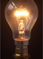 a lit incandescent lightbult