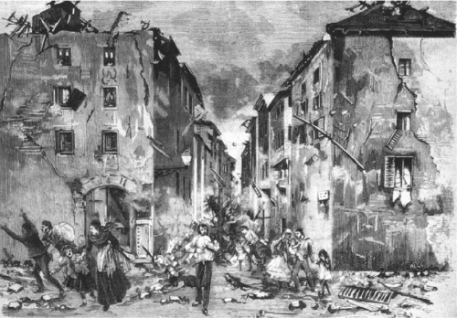 Aftermath of Imperia Earthquake of 1887