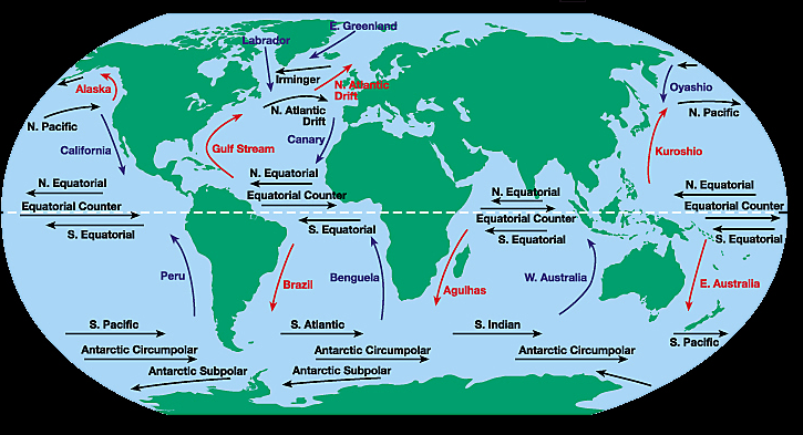 World Map With Currents.Gyres And Surface Currents Earth 540 Essentials Of Oceanography