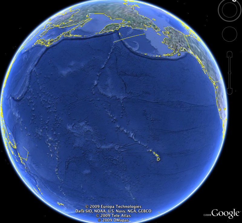Image of the earth from Google Earth. See paragraph above for description