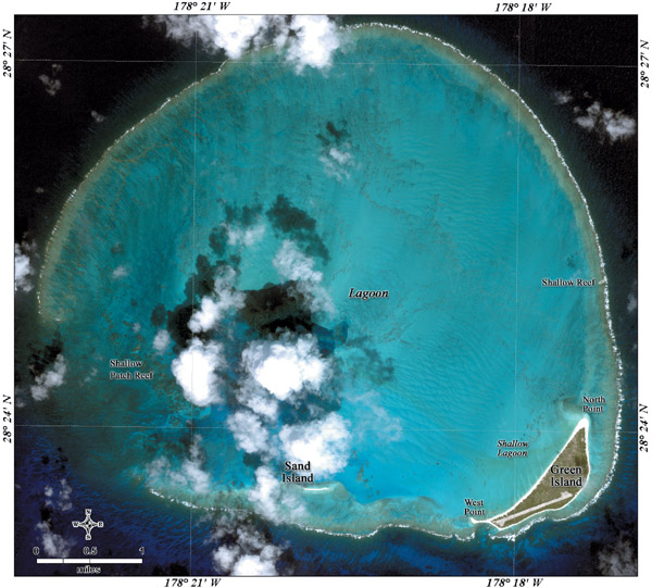 satellite image of Kure Ikonos, an atoll in the N. Pacific