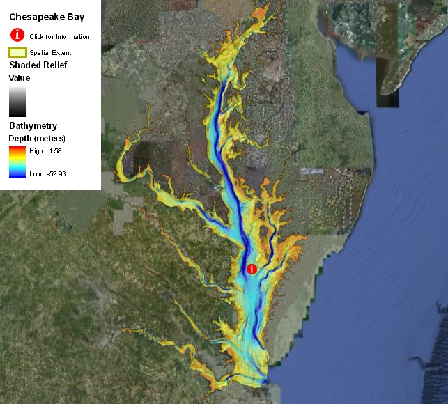 digital map of Chesapeake Bay estuary