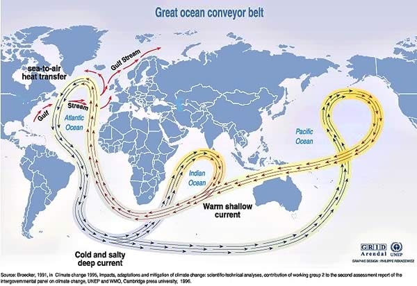 Map showing Great Ocean Conveyor Belt