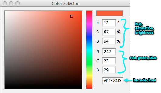 Screenshot of Processing's color selector.