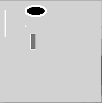 display window from the program in the image above containing a filled ellipse, filled rectangle, a line, and a point.