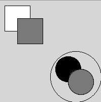Output from the program above showing a white square in the upper right corner with a grey square a little to the right and below and on top. Also includes  a large circle in the lower left corner with two smaller circles of the same size inside of it. One is filled in black, and the other is a gray circles and is a little to the right and below and on top of the black circle.
