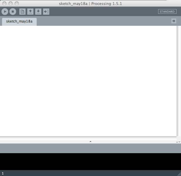 A screenshot of an empty program in Processing.