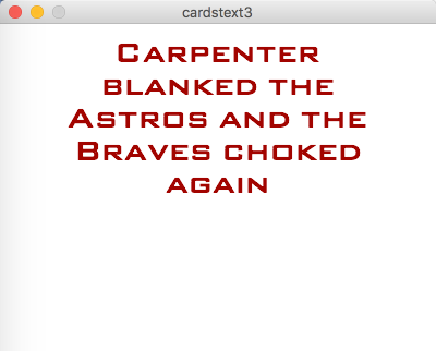 screenshot of output from example 5.2. Red words on a white background.