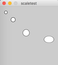 screenshot of program output from example 5.9. scaled circles