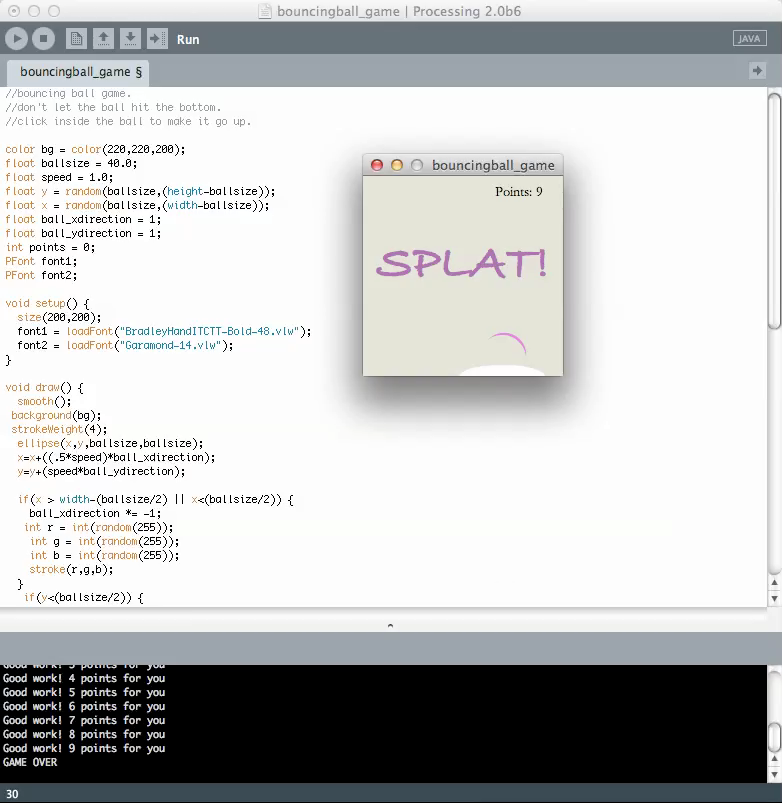 Image of processing code from above with a window with the word SPLAT written in it.