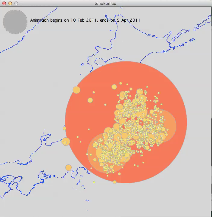 map of japan with earthquake location. display from aftershocks animation program.