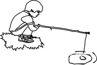 line drawing of a boy fishing with a stick.