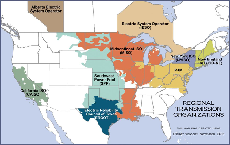 Map showing the Regional Transmission Organizations. See the accessible long description below.