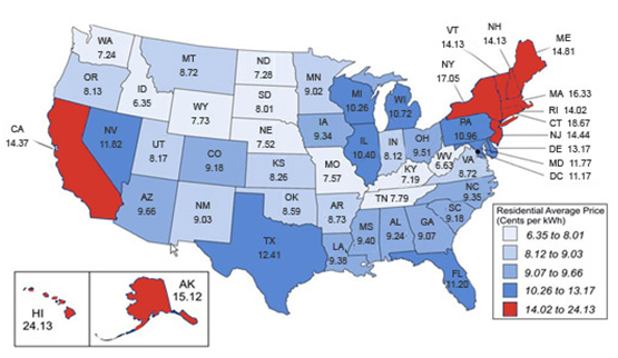 Map of ther US showing high electricity rates in AK, HI, NY, VT, NH, ME, MA, RI, CT, and NJ.