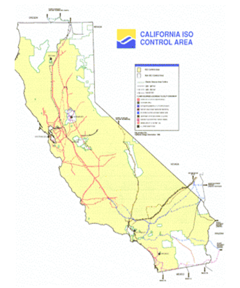 Map showing most  of California in the ISO control area.