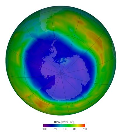 3D globe showing ozone concentrations over Antarctica measured in Dobson units.