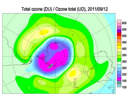 Map of Antarctica showing Total ozone (DU) / Ozone total (UD) as of 2011/09/12