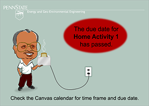 Image indicating that the due date for Home Activity 1 has passed.