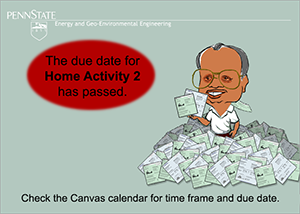 Image indicating that the due date for Home Activity 2 has passed.
