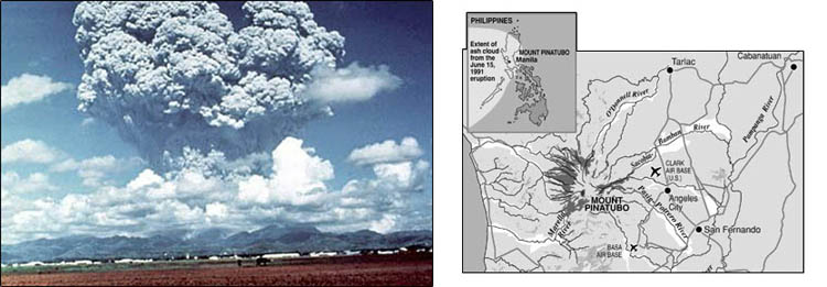 Image 1. Mount Pinatubo erupting. Image 2. Map of its location and how far the ash from its eruption spread.