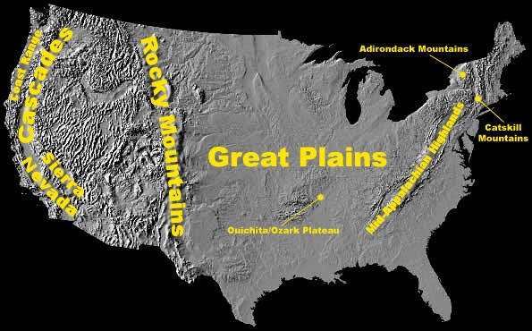 Map of US showing high elevation areas described above
