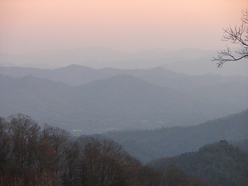 Picture of the Great Smoky Mountains with a haze covering the landscape.
